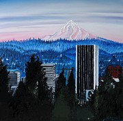 City Of Bridges Painting Posters - Mount Hood Over City Of Portland Poster by James Dunbar