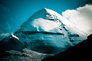 Prints Pyrography Posters - Mount Kailash Home of the Lord Shiva Poster by Raimond Klavins