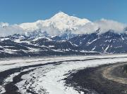 Snow-covered Landscape Photo Posters - Mount Mckinley And Ruth Glacier Poster by Mark Stadsklev