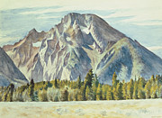Landscape Posters Framed Prints - Mount Moran Framed Print by Edward Hopper