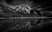 Raymond Salani Iii Metal Prints - Mount Moran in Black and White Metal Print by Raymond Salani III