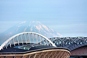 Seahawks Posters - Mount Rainier Backdrop Poster by Kristin Elmquist