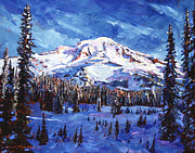 Fir Trees Painting Prints - Mount Rainier Impressions Print by