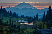 National Prints - Mount Rainier Layers Print by Mike Reid