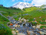 Mount Washington Mixed Media Prints - Mount Rainier National Park - Edith Creek Print by Photography Moments - Sandi