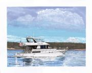 Yachts Drawings Prints - Mount Rainier Yachting Print by Jack Pumphrey