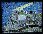 Science Fiction Glass Art Originals - Mount Rossmore by Pamela Holt