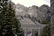 South Dakota Tourism Photos - Mount Rushmore Above The Pines by Clarice  Lakota