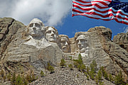 Independence Day Flag Framed Prints - Mount Rushmore Closeup with American Flag Framed Print by John Stephens
