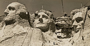 Mt. Massive Photo Prints - Mount Rushmore Construction Print by Underwood Archives
