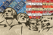 Recycle Prints - Mount Rushmore Monument Vintage Recycled License Plate Art Print by Design Turnpike
