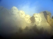 Us National Park Service Posters - Mount Rushmore National Memorial Through The Fog  Poster by National Parks Service