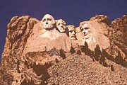 Dakota Drawings - Mount Rushmore Red by Peter Art Print Gallery  - Paintings Photos Posters