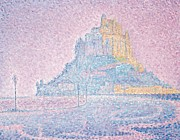 Pointillist Framed Prints - Mount Saint Michel Fog and Sun Framed Print by Paul Signac