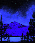 Dark Art Painting Prints - Mount Shasta in Starlight Print by Frank Wilson
