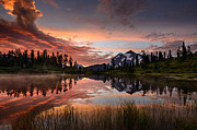 Fiery Red Posters - Mount Shuksan Fiery Sunrise Poster by Dan Mihai