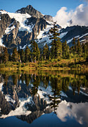 Snow Picture Posters - Mount Shuksan Reflections Poster by Alexis Birkill