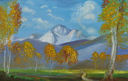 Colors Of Autumn Painting Posters - Mount Sneffels San Juan Mountains Colorado Poster by Patricia Kimsey Bollinger