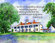 Mt Vernon Framed Prints - Mount Vernon Psalm 18 Framed Print by John D Benson