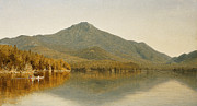 Mountainous Painting Posters - Mount Whiteface from Lake Placid Poster by Albert Bierstadt