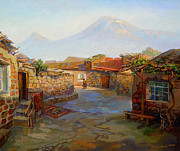 Armenian Paintings - Mountain Ararat and the old part of Yerevan. by Meruzhan Khachatryan
