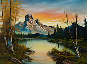 Mountain At Sunset Print by C Steele