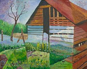 Old Age Painting Originals - Mountain Barn by William Killen