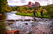 Red Rock Crossing Framed Prints - Mountain Bikers Crossing Cathedral Falls Framed Print by Linda Pulvermacher