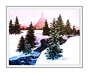 Winter Scene Digital Art Prints - Mountain Brook Sunset - Snow - Winter Print by Barbara Griffin