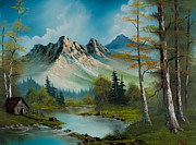 Mountain Pine Tree Painting Framed Prints - Mountain Cabin Framed Print by C Steele