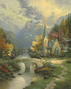 Inspirational  Posters - Mountain Chapel Poster by Thomas Kinkade