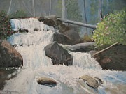 Waterfalls Paintings - Mountain Falls by Richard Zagurski