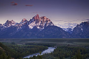 Grand Tetons Posters - Mountain Glow Poster by Andrew Soundarajan