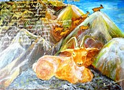 Ambition Painting Prints - Mountain goats-The sure footed climbers Print by Paromita  Bhattacharjee