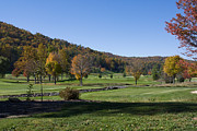 Golfcourse Prints - Mountain Golfcourse At Autumn Print by Ules Barnwell