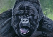 Gorilla Painting Posters - Mountain Gorilla Poster by Tom Blodgett Jr