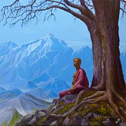 Buddhist Monk Paintings - Mountain High by Birgit Coath