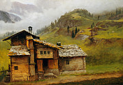 Mountain Cabin Painting Framed Prints - Mountain House  Framed Print by Albert Bierstadt