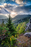God Beams Posters - Mountain Interlude Poster by Rob Travis