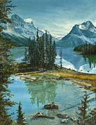 Water Reflections Paintings - Mountain Island Sanctuary by Mary Ellen Anderson