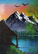 Mountain Lake Cabin W Eagles Print by Marianne NANA Betts