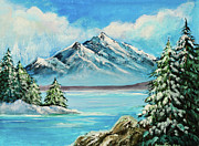 Wyoming Paintings - Mountain Lake in Winter by Nadine and Bob Johnston