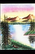 Lakes Pastels - Mountain Lake by Karen Buford
