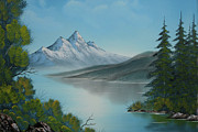 Mountain Lake Painting A La Bob Ross Print by Bruno Santoro