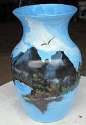Painted Glass Art - Mountain Lake View by Thomas Pittman