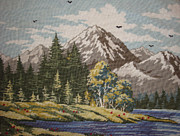 Landscape Tapestries - Textiles Framed Prints - Mountain Lanscape Framed Print by Eugen Mihalascu