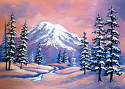 Pacific Northwest Painting Posters - Mountain  Magic Poster by Shasta Eone