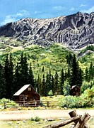 Mountain Cabin Painting Framed Prints - Mountain Majesty Framed Print by Barbara Jewell