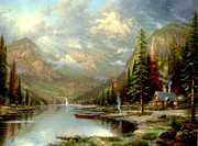 Kinkade Prints - Mountain Majesty Print by Thomas Kinkade