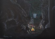 Spooky Scene Paintings - Mountain Man by Virginia  Black